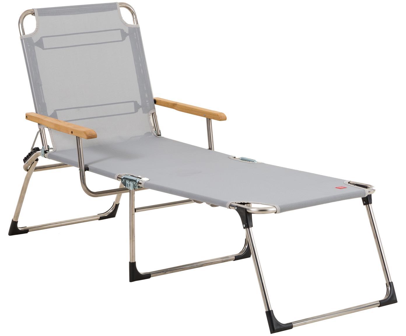 Outdoor ligstoel Amigo, Frame: aluminium, Bekleding: kunststofweefsel (weer- e, Armleuning: natuurlijk robiniahout, Grijs, robiniahoutkleurig, B 190 x D 69 cm