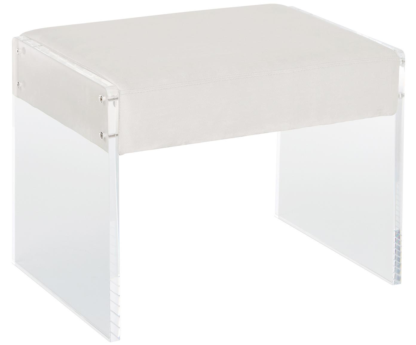 Fluwelen kruk Ayden, Bekleding: fluweel (polyester), Frame: massief populierenhout, m, Poten: acrylglas, Bekleding: beige. Frame: transparant, 61 x 45 cm