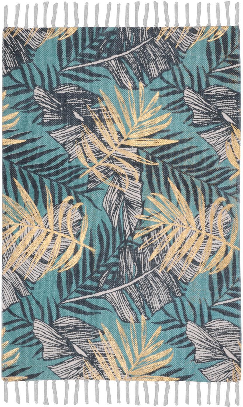 Vloerkleed Longbeach met tropische print, 100% katoen, Blauwtinten, beige, B 60 x L 90 cm (maat XXS)