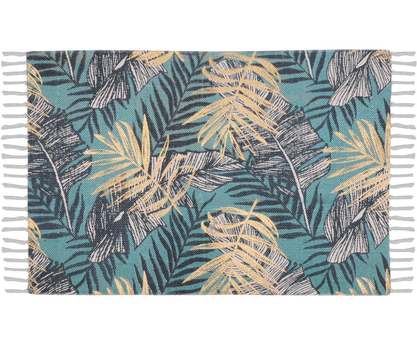 Tappeto con stampa tropicale Longbeach, Cotone, Tonalità blu, beige, Larg. 60 x Lung. 90 cm (taglia XXS)