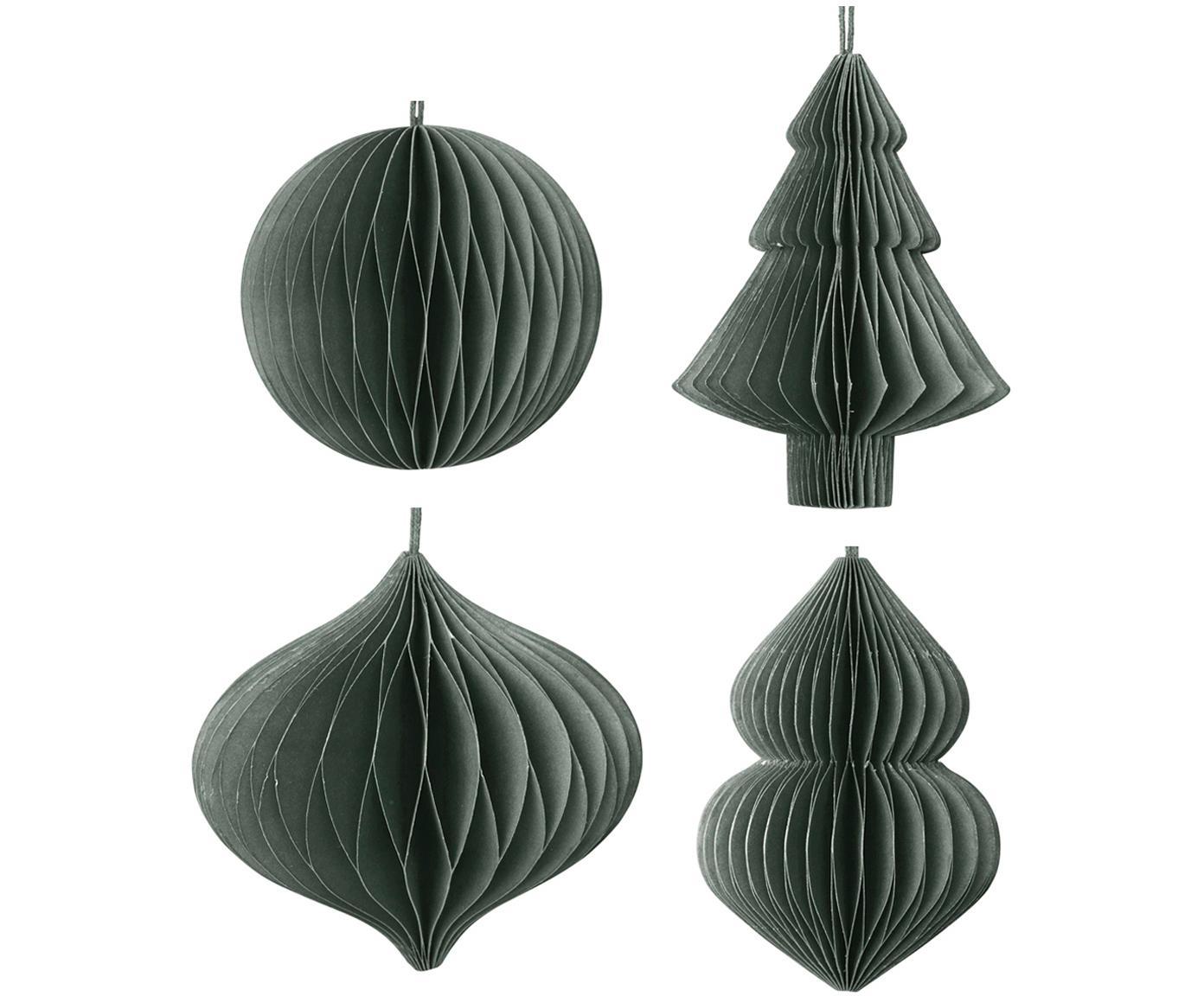 Kerstboomhangersset Christmas Mix, 4-delig, Papier, Donkergroen, Ø 9 x H 10 cm