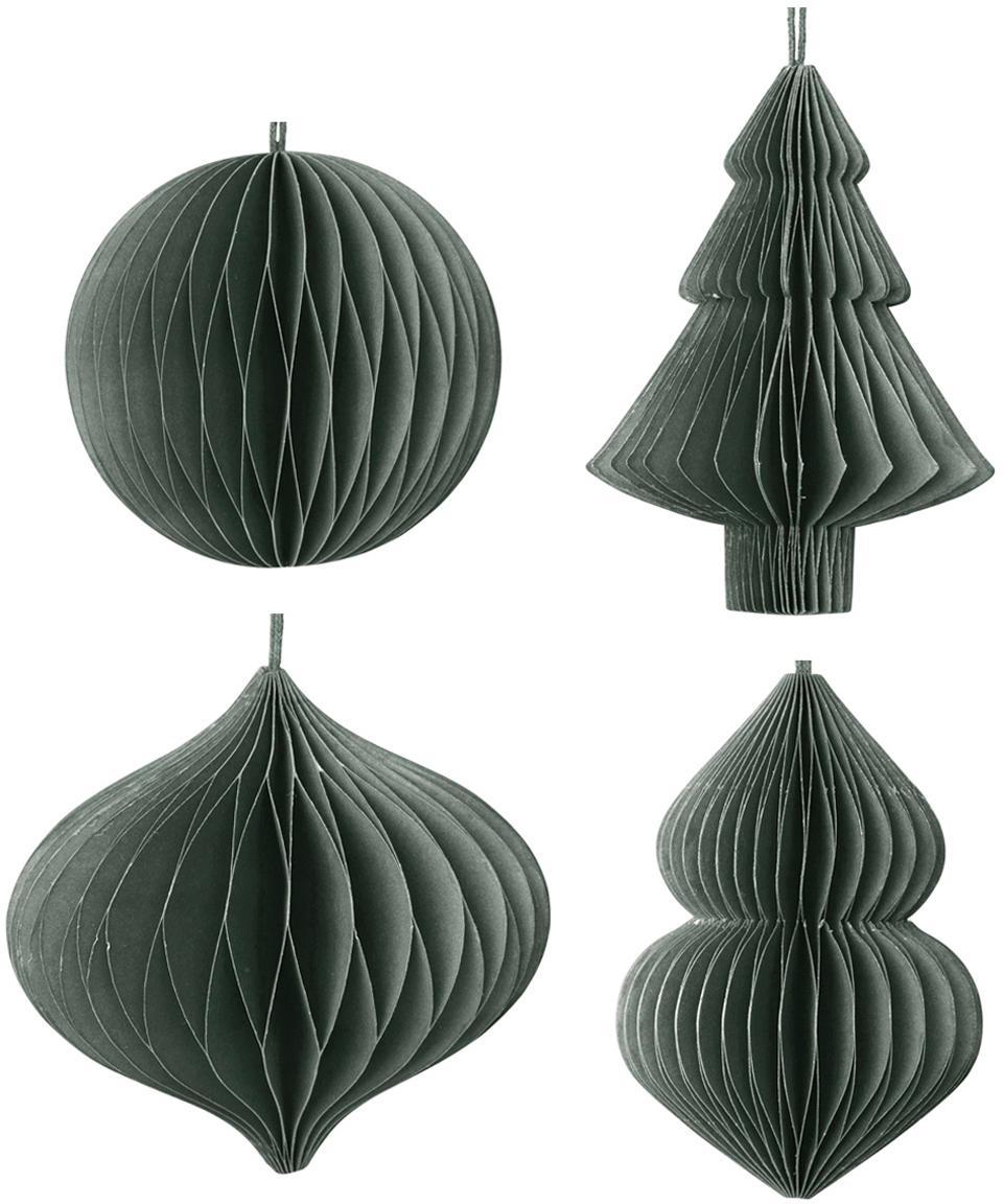 Set de adornos navideños Christmas Mix, 4pzas., Papel, Verde oscuro, Ø 9 x Al 10 cm