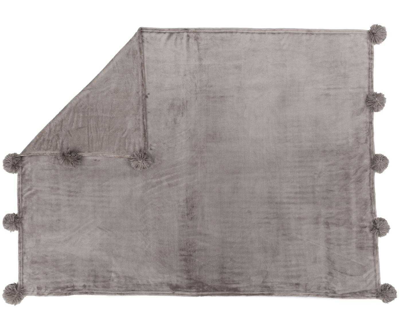 Fleece plaid Bomla, Polyester, Taupe, 130 x 170 cm