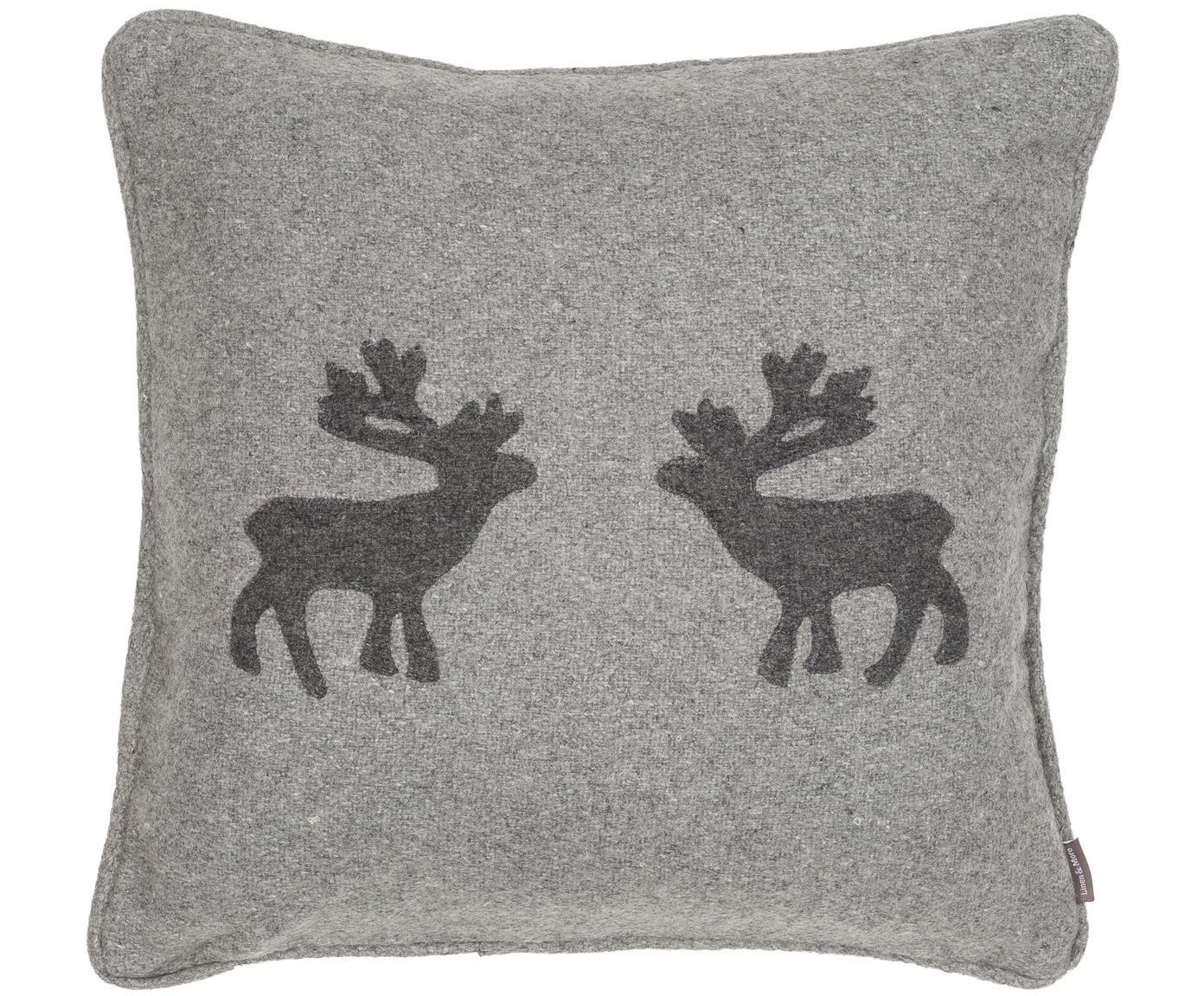 Cuscino in feltro di lana Sister Reindeer, Grigio chiaro, grigio scuro, P 45 x L 45 cm