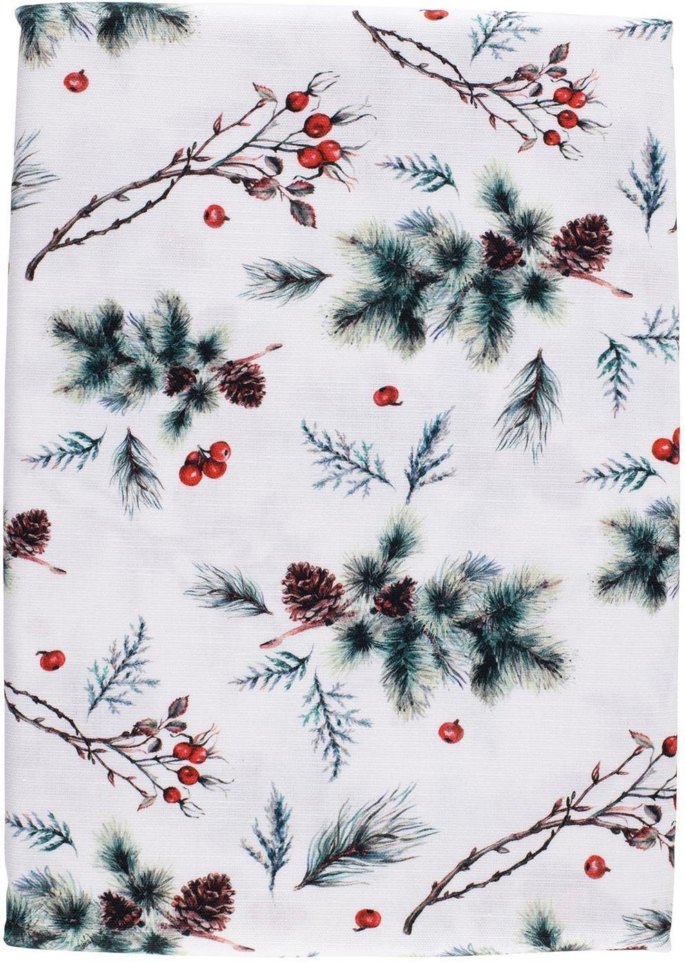 Obrus Aubepine, Bawełna, Zielony, czerwony, S 160 x D 160 cm