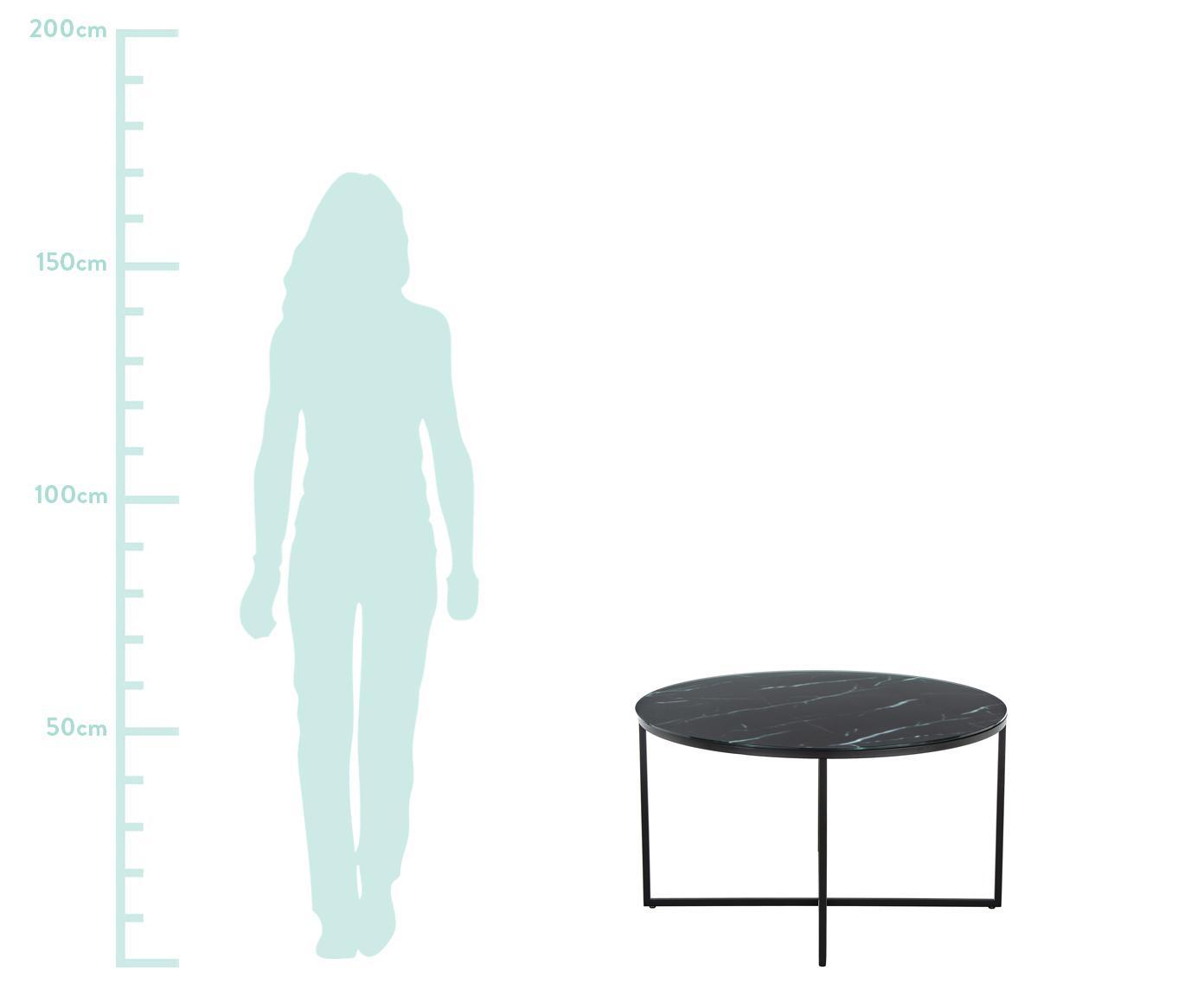 Mesa de centro Antigua, tablero de cristal en aspecto mármol, Tablero: vidrio estampado con aspe, Estructura: acero con pintura en polv, Negro grisaceo veteado, negro, Ø 80 x Al 45 cm