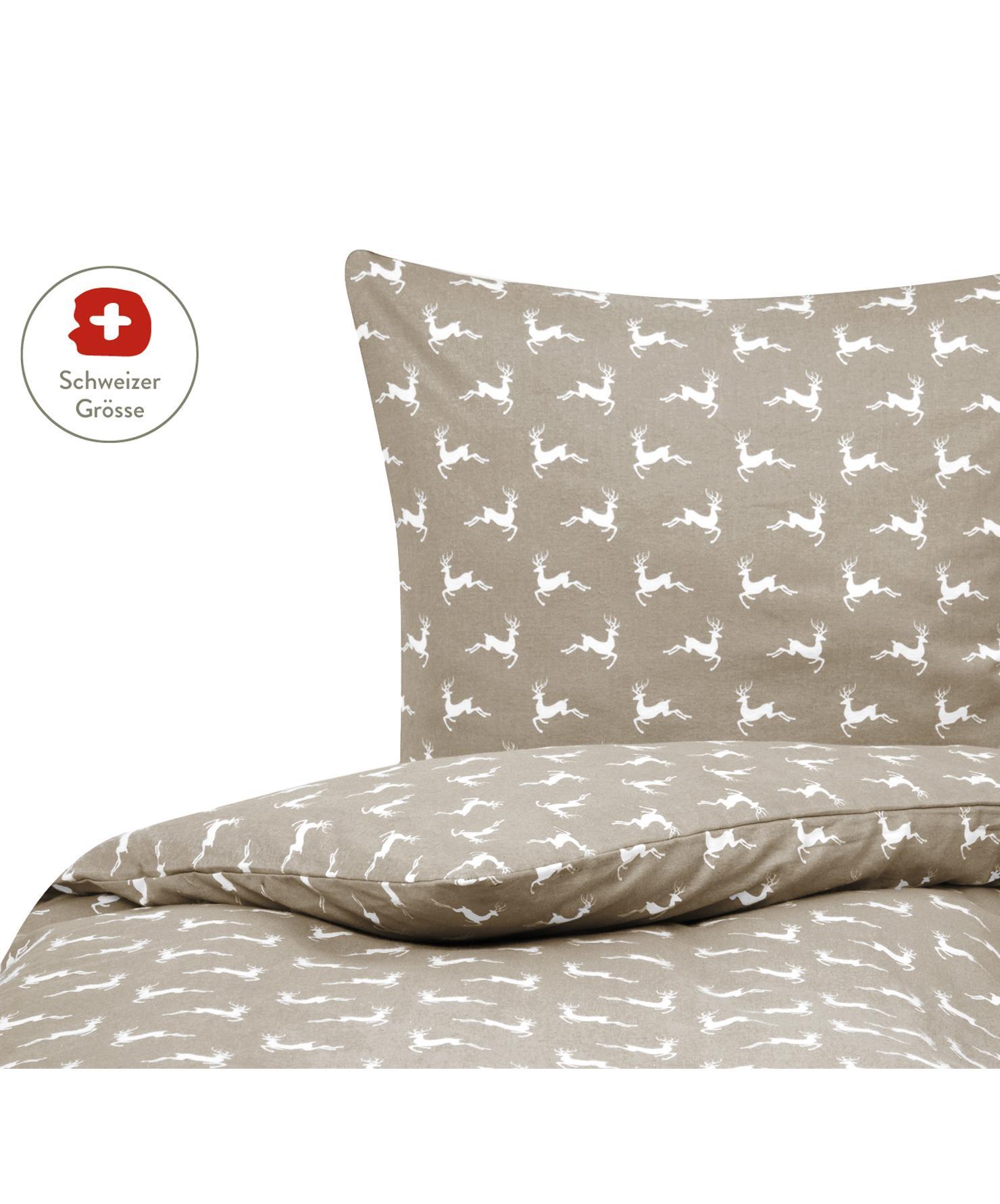 Flanell-Bettdeckenbezug Rudolph mit Rentieren, Webart: Flanell Flanell ist ein s, Beige, Weiss, 160 x 210 cm