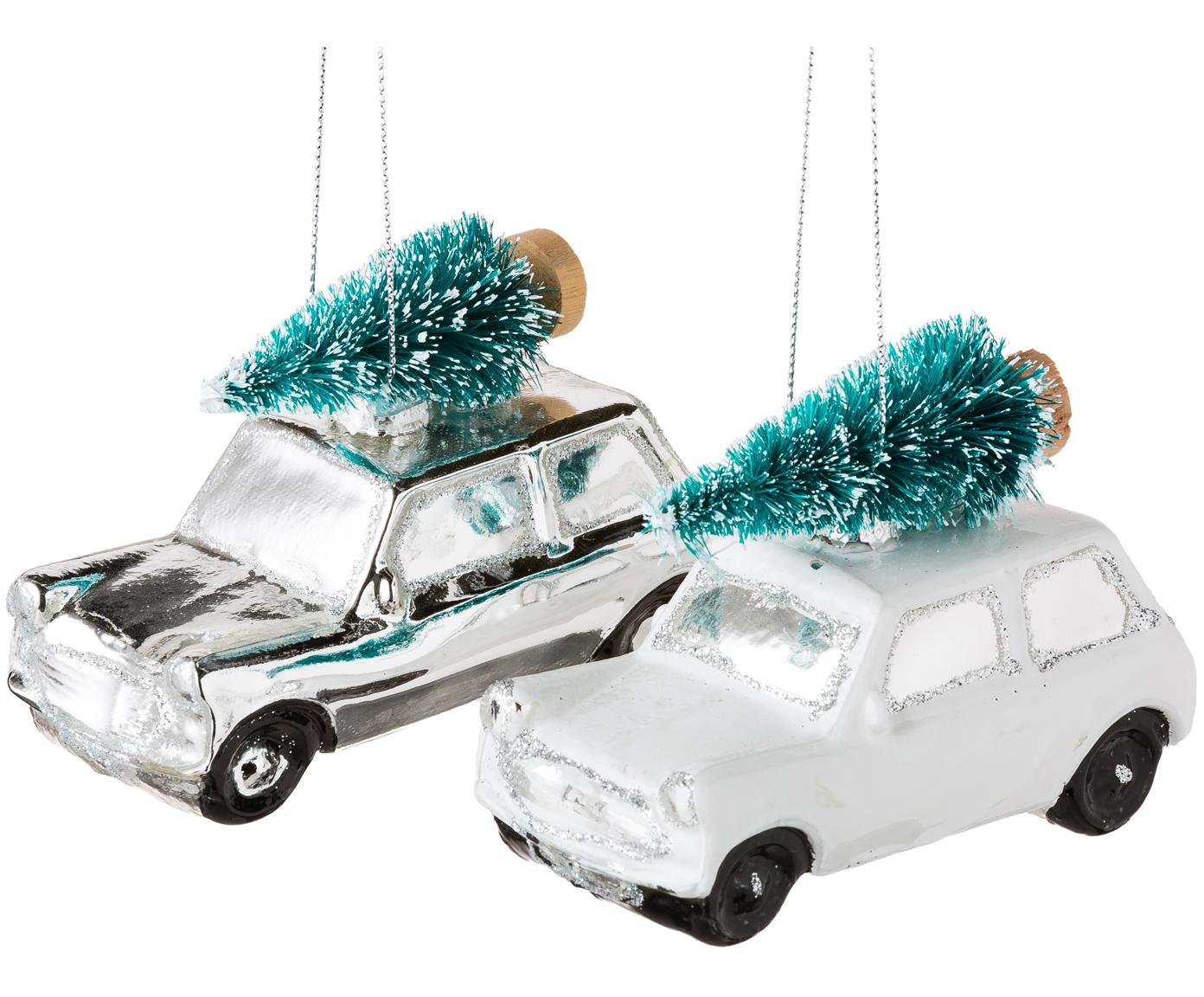 Adornos navideños Christmas Cars, 2pzas., Vidrio, plástico, Blanco, plateado, An 10 x Al 7 cm