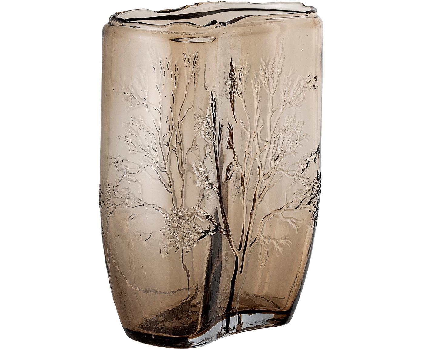Glazen vaas Tree, Glas, Bruin, transparant, Ø 10 x H 26 cm