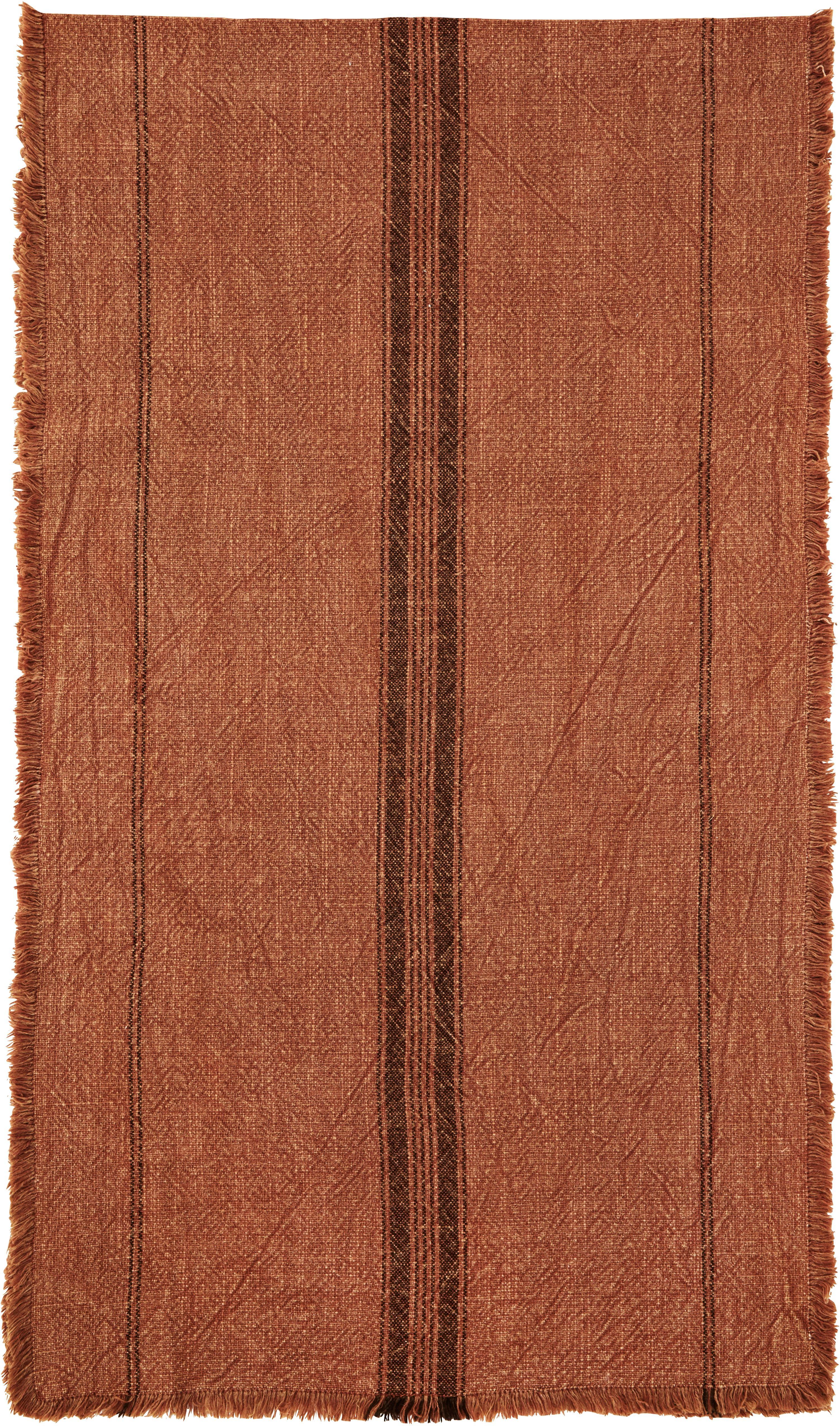 Camino de mesa Ripo, 100%algodón, Rojo teja, negro, An 40 x L 140 cm
