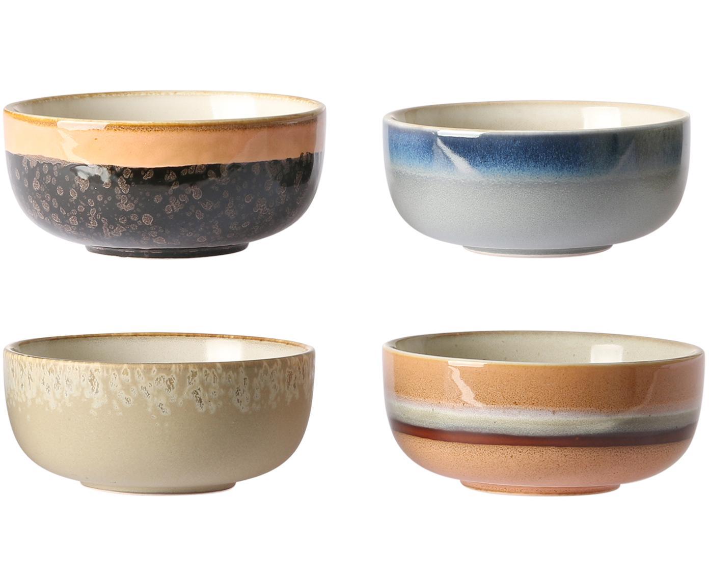 Set di 4 ciotole artigianali 70's, Ceramica, Multicolore, Ø 11 x Alt. 5 cm