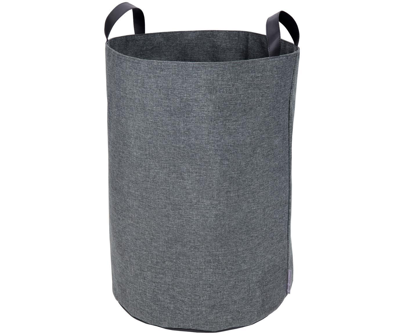 Portabiancheria Floor, Manico: pelle, Cesto : grigio manico: nero, Ø 40 x Alt. 55 cm