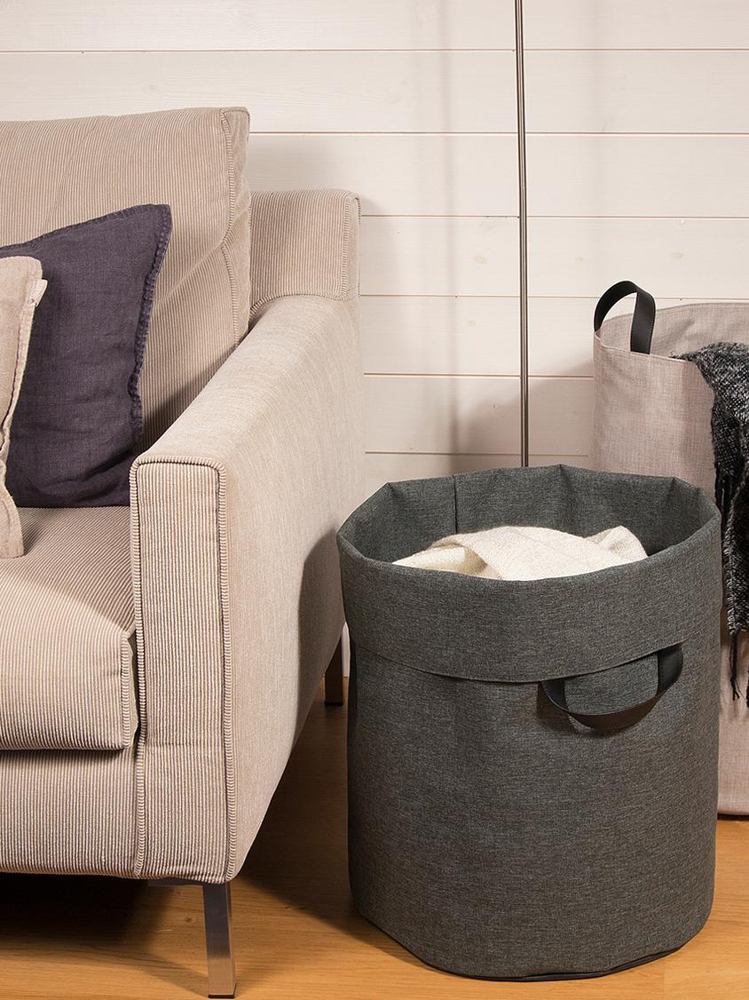 Kosz na pranie Floor, Kosz na pranie: szary Uchwyty: czarny, Ø 40 x W 55 cm