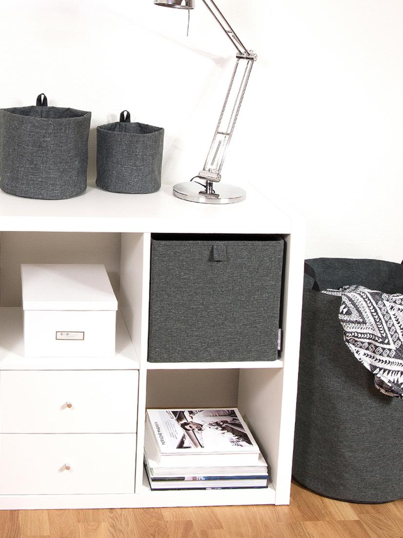 Wäschekorb Floor, Griff: Leder, Wäschekorb: GrauHenkel: Schwarz, Ø 40 x H 55 cm