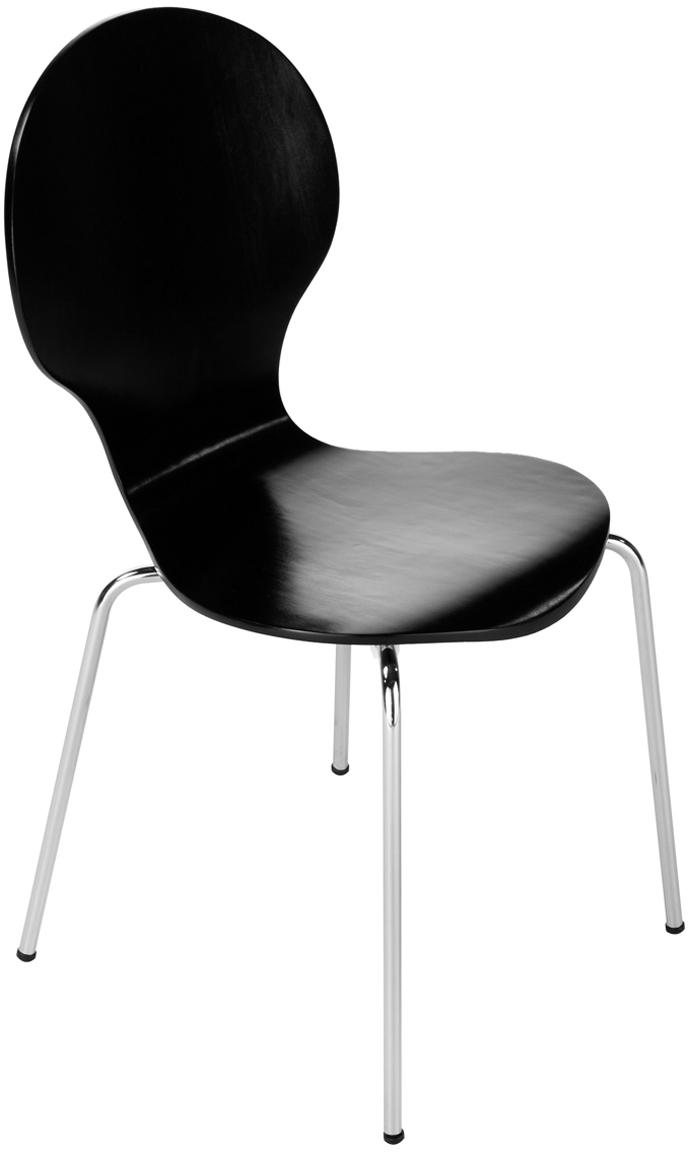 Esszimmerstühle Marcus, 4 Stück, Sitzfläche: Mitteldichte Holzfaserpla, Gestell: Stahl, verchromt, Schwarz, B 49 x T 53 cm