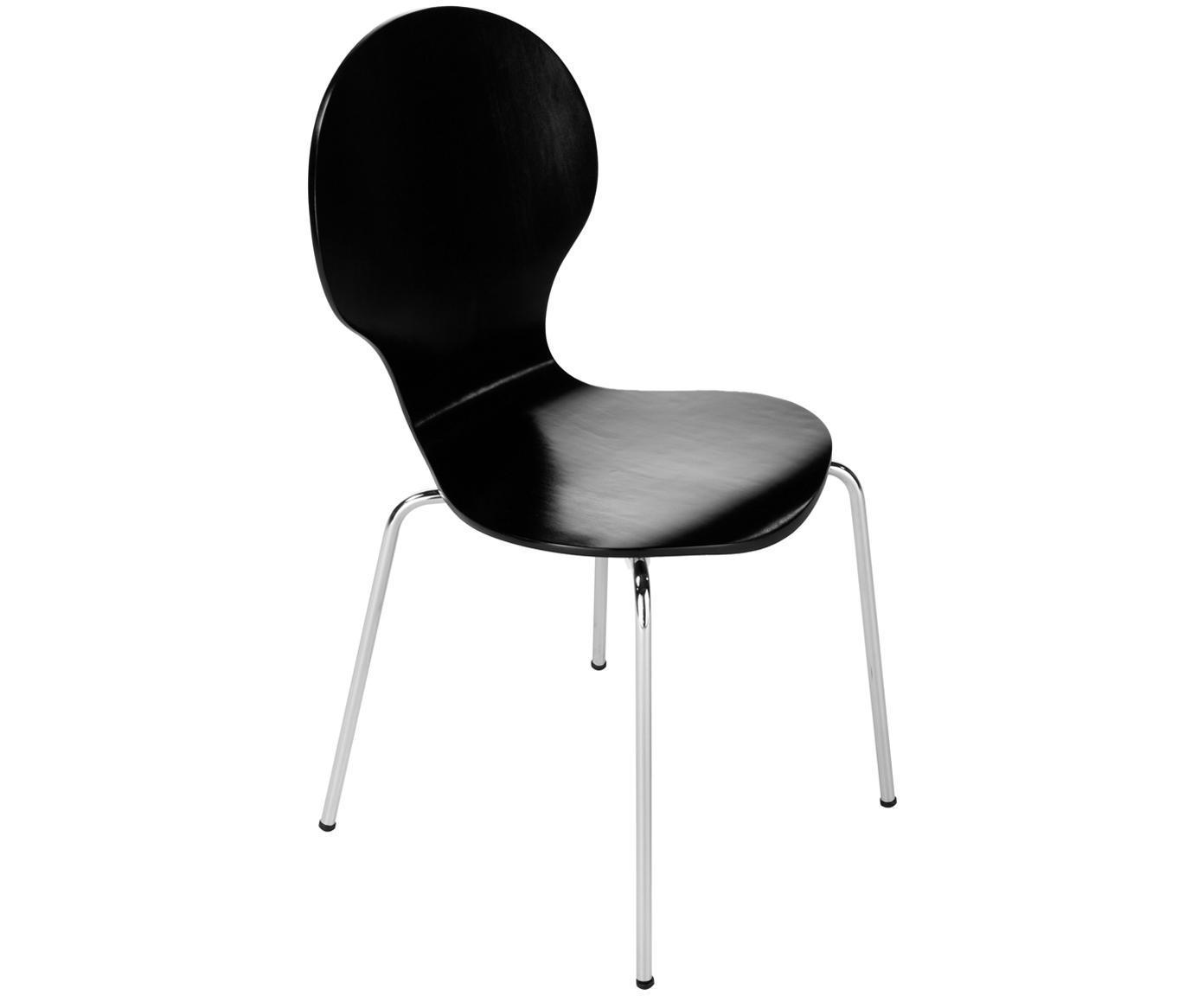 Sillas Marcus, 4 uds., Asiento: tablero de fibras de dens, Estructura: acero, cromado, Negro, An 49 x Al 87 cm