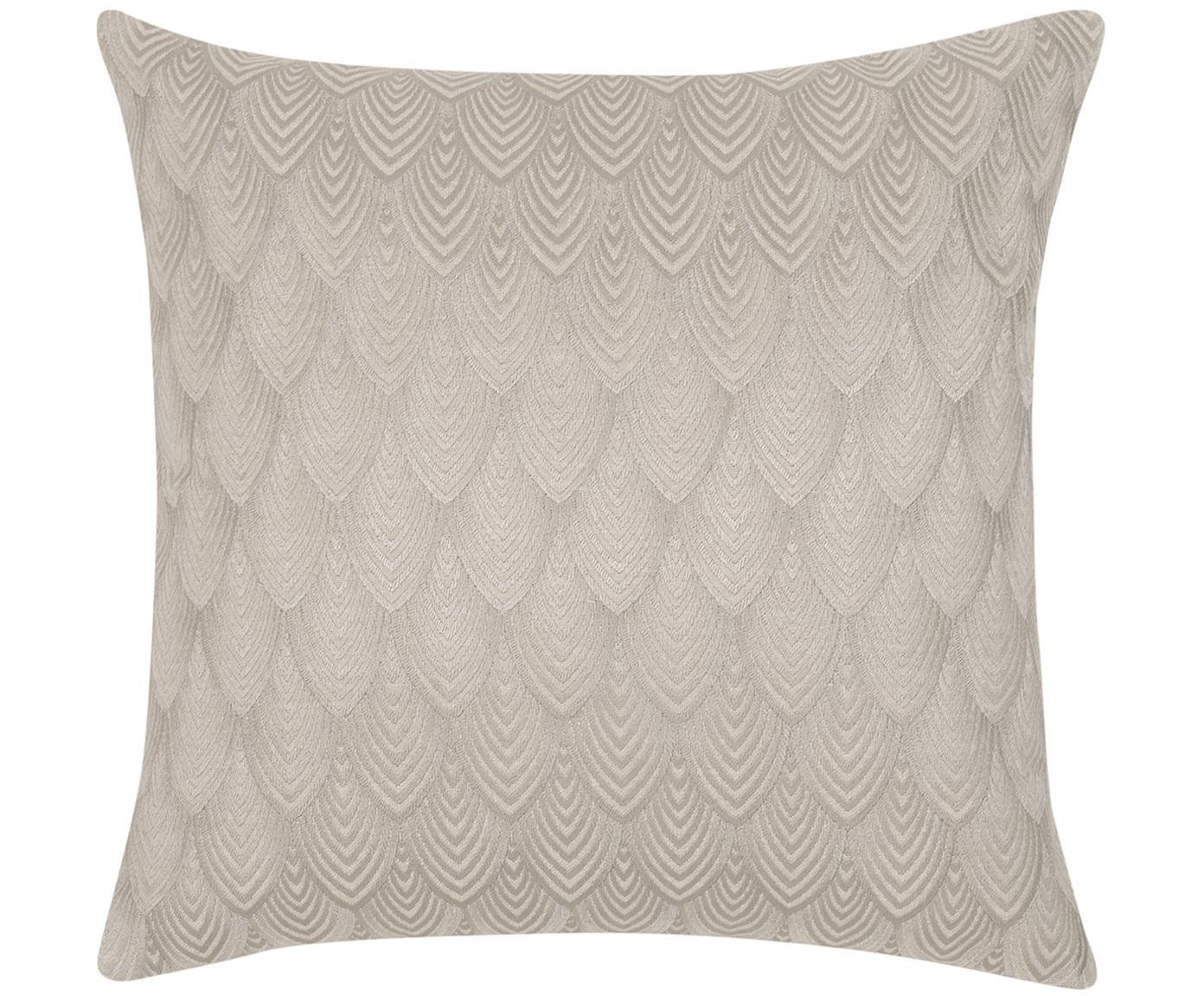 Glänzend bestickte Kissenhülle Giselle, 100% Baumwolle, Taupe-Grau, 45 x 45 cm
