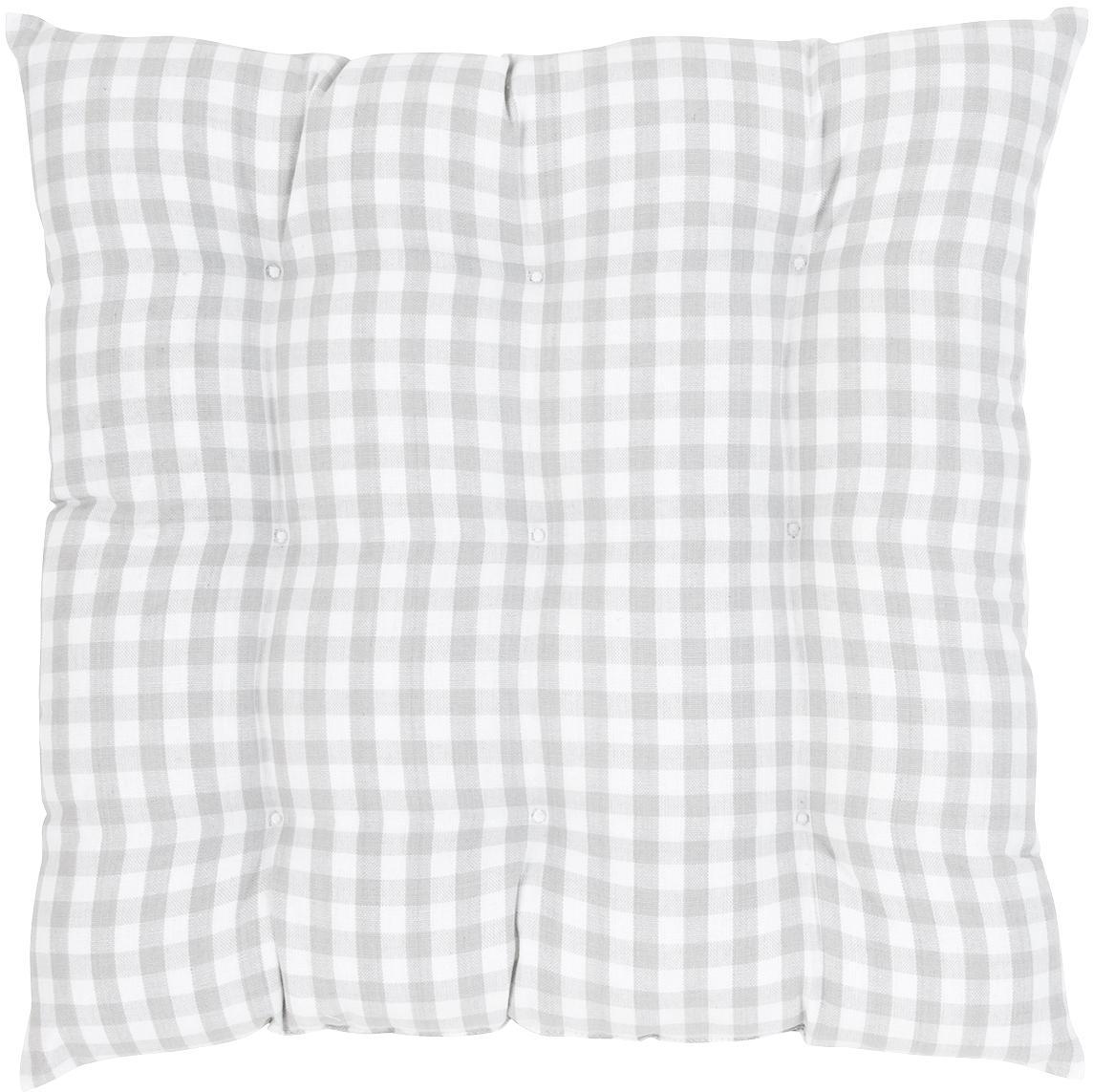 Cuscino sedia a quadretti Karolin, Grigio chiaro, bianco crema, Larg. 40 x Lung. 40 cm
