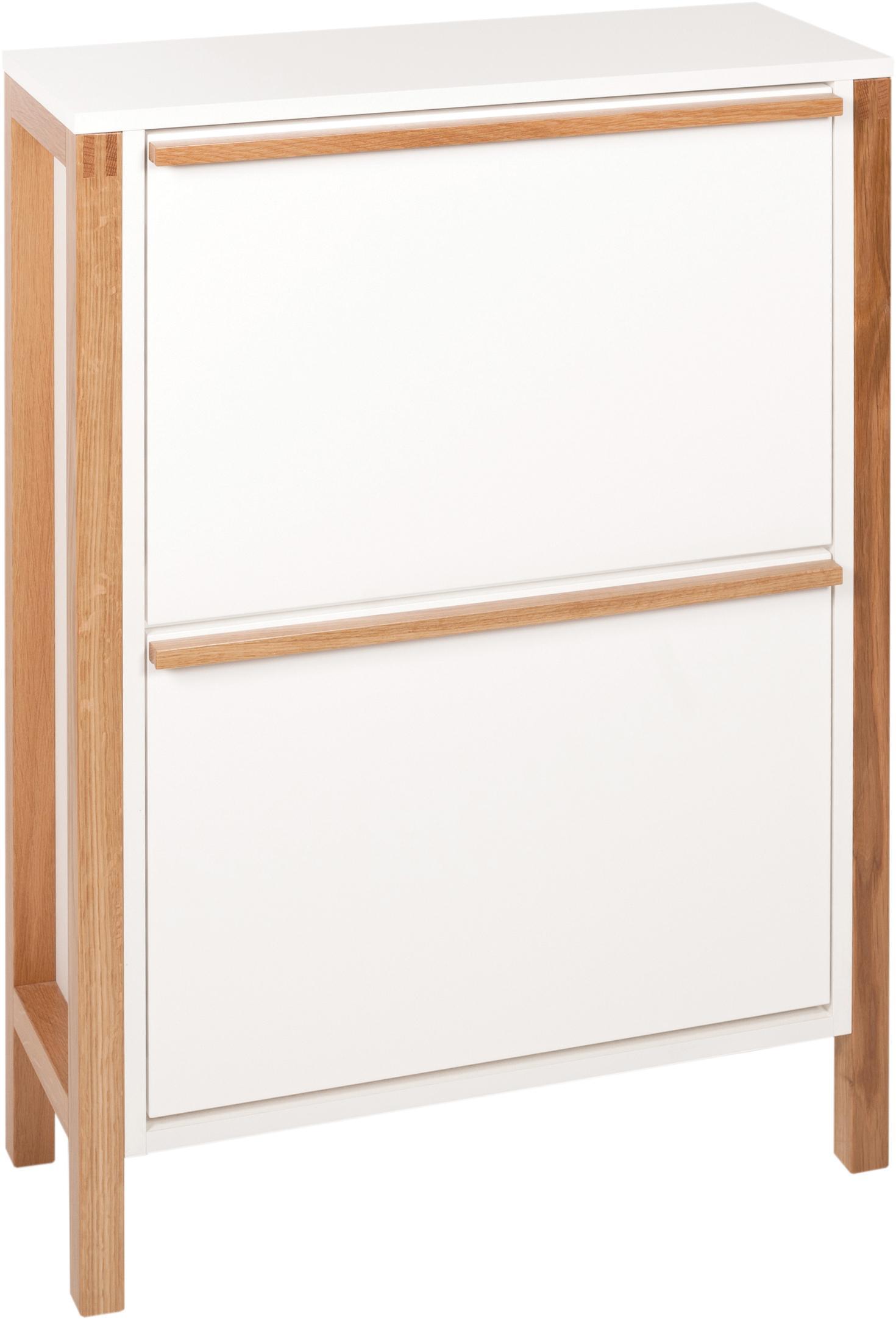 Zapatero Northgate, 2 compartimentos plegables, Estructura: tablero de fibras de dens, Blanco, roble, An 65 x Al 93 cm