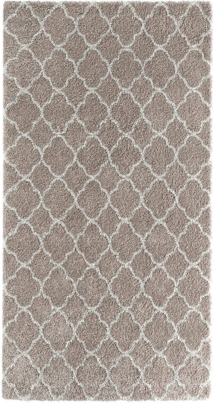 Hoogpolig vloerkleed Grace, Bovenzijde: polypropyleen, Onderzijde: jute, Beige, crèmekleurig, B 80 x L 150 cm (maat XS)