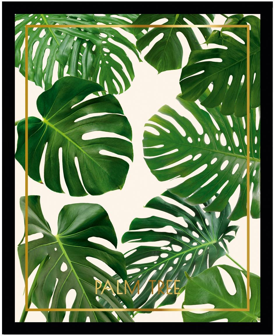 Oprawiony druk cyfrowy Palm Tree II, Stelaż: tworzywo sztuczne, szklan, Wielobarwny, S 40 x W 50 cm