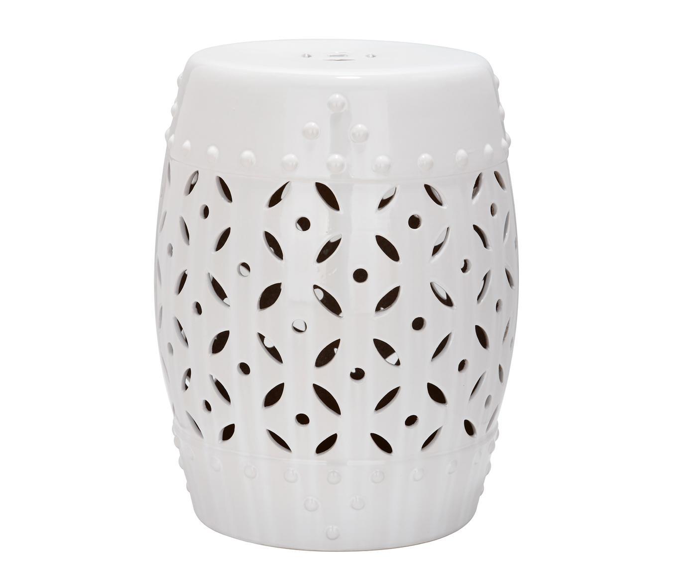 Sgabello / tavolino fatto a mano Philine, Ceramica smaltata, Bianco, Ø 33 x Alt. 47 cm