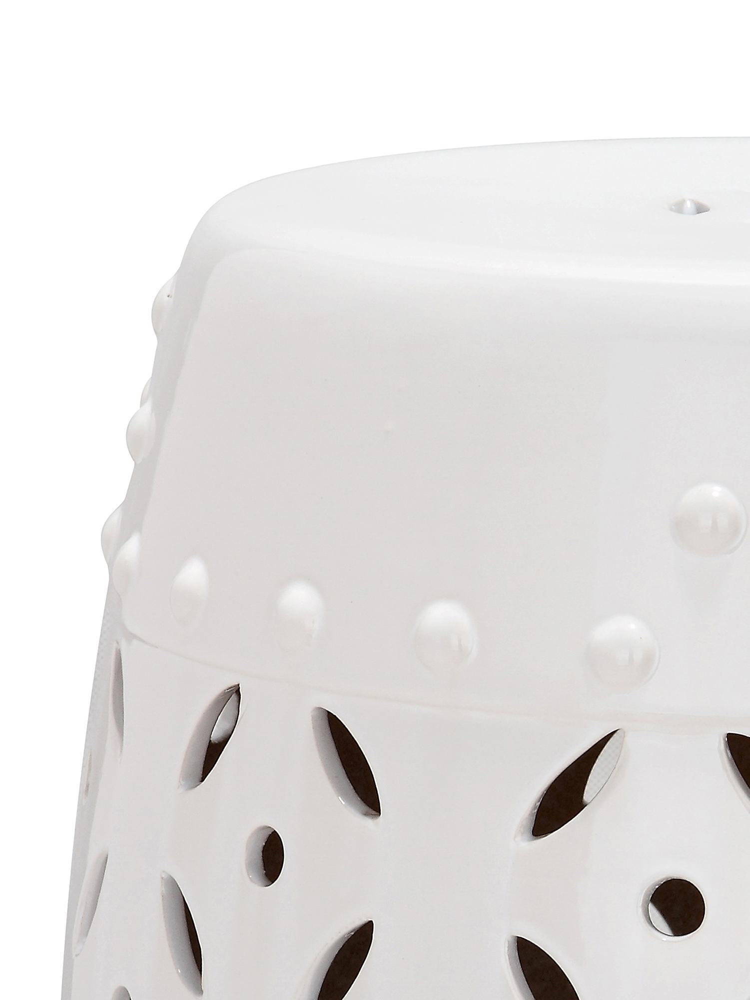 Handgefertigter Hocker / Beistelltisch Philine, Keramik, glasiert, Weiß, Ø 33 x H 47 cm