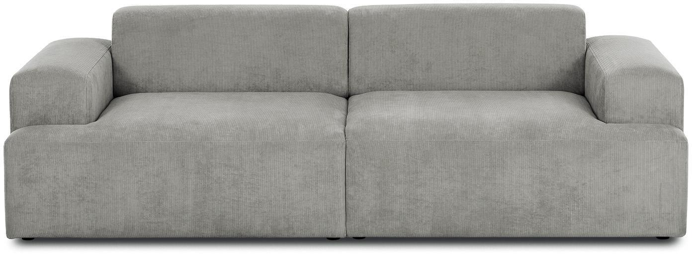 Corduroy bank Melva (3-zits), Bekleding: corduroy (92% polyester, , Frame: massief grenenhout, spaan, Poten: grenenhout, Grijs, B 240 x D 101 cm