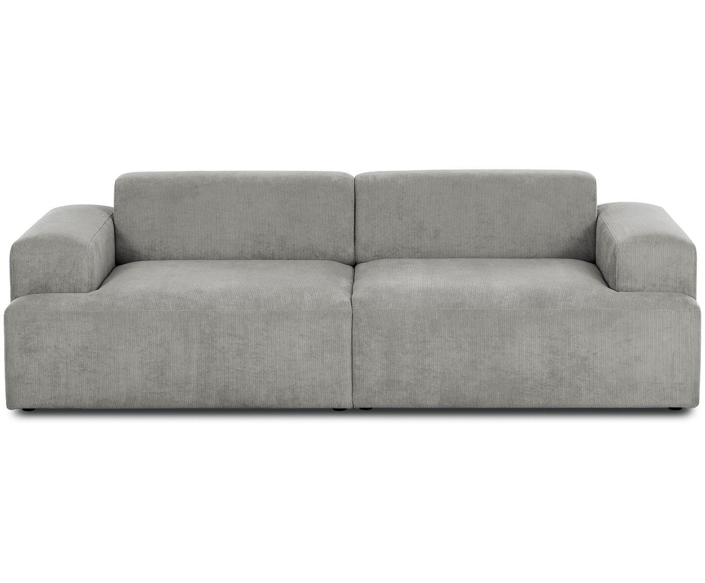 Sofa ze sztruksu Melva (3-osobowa), Tapicerka: sztruks (92% poliester, 8, Stelaż: lite drewno sosnowe, płyt, Nogi: drewno sosnowe, Sztruks szary, S 240 x G 101 cm