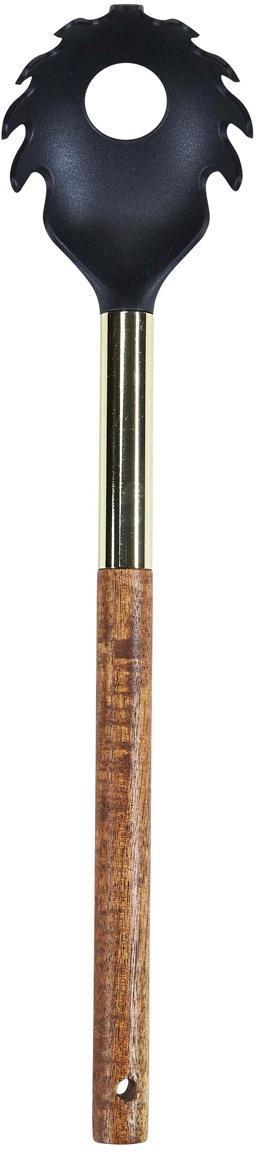 Cucchiaio per spaghetti con legno di acacia Lula, Legno d'acacia, nylon, Legno d'acacia, ottonato, nero, Lung. 32 cm