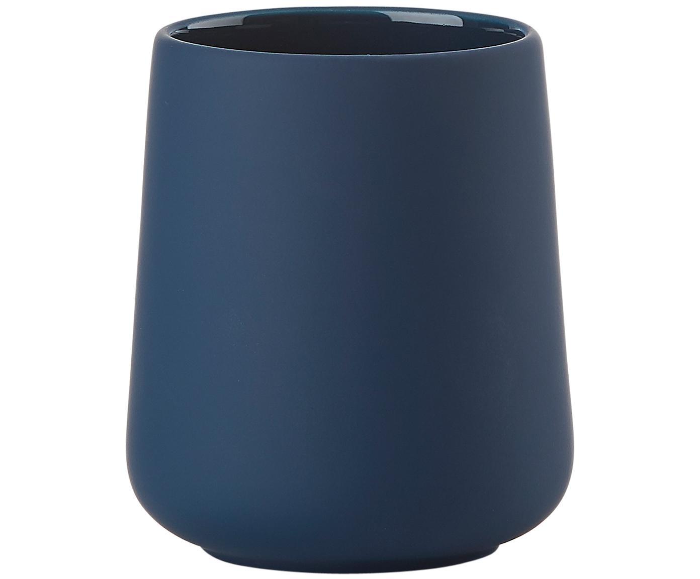 Vaso cepillo de dientes Clean, Porcelana, Azul real, Ø 8 x Al 10 cm