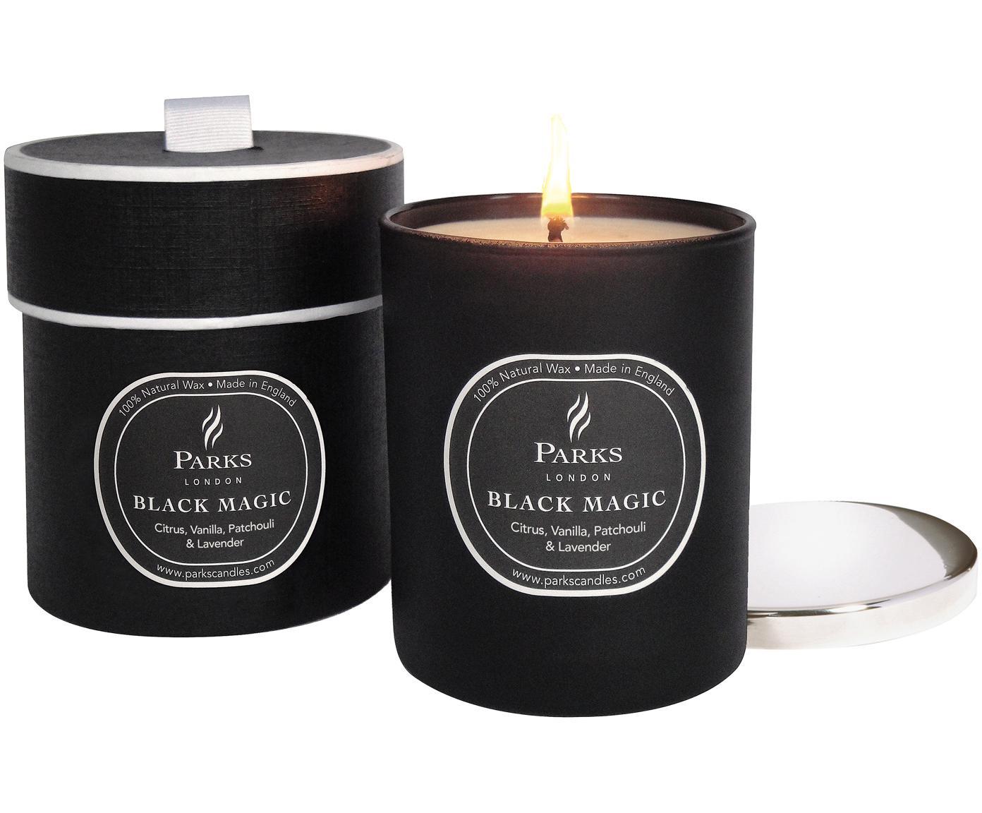 Geurkaars Black Magic (citrus, vanille, patchouli & lavendel), Houder: glas, Deksel: metaal, Zwart, Ø 7 x H 9 cm