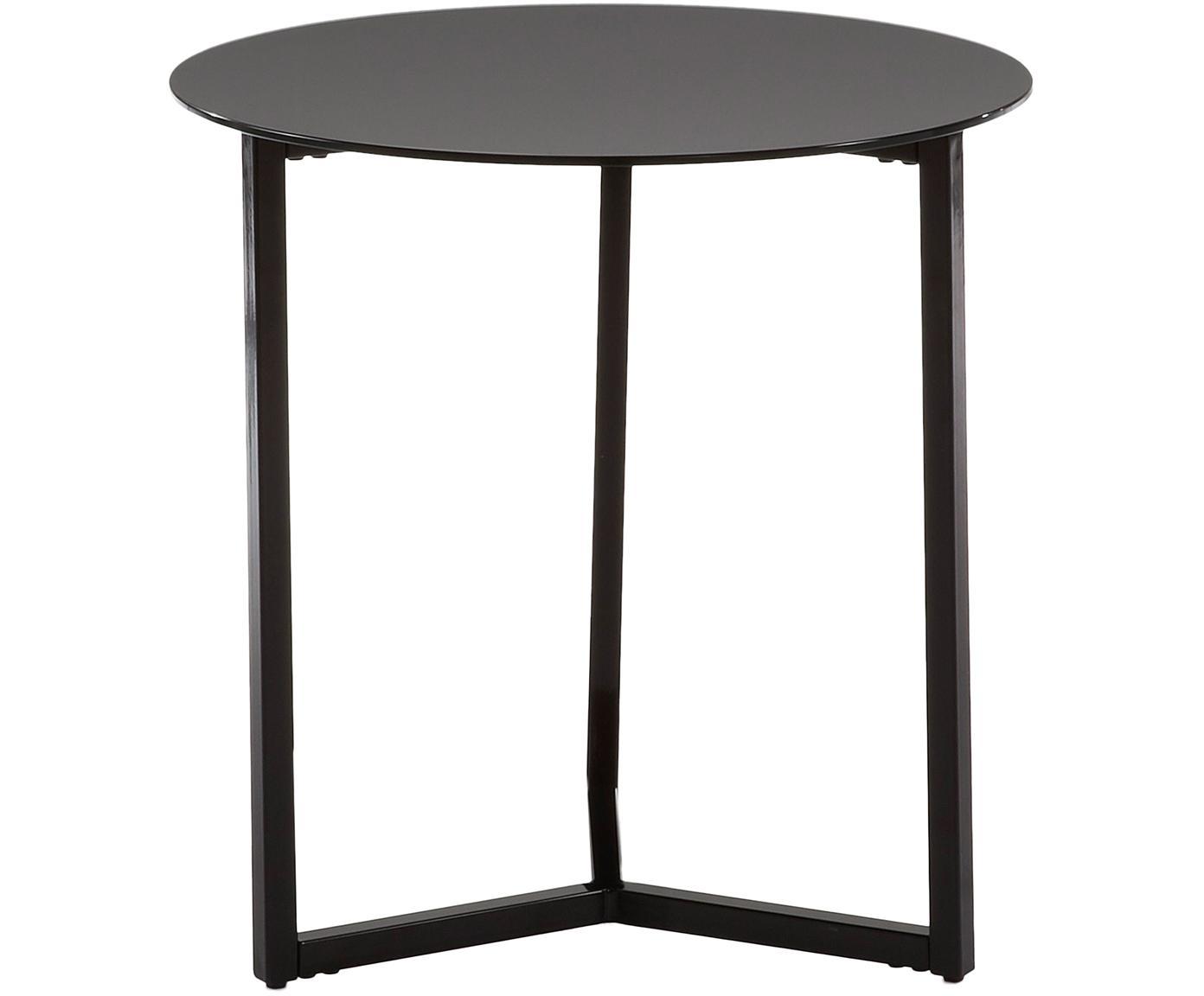 Tavolino rotondo con piano in vetro Raeam, Piano d'appoggio: vetro temperato colorato, Struttura: metallo verniciato, Nero, Ø 50 x Alt. 50 cm