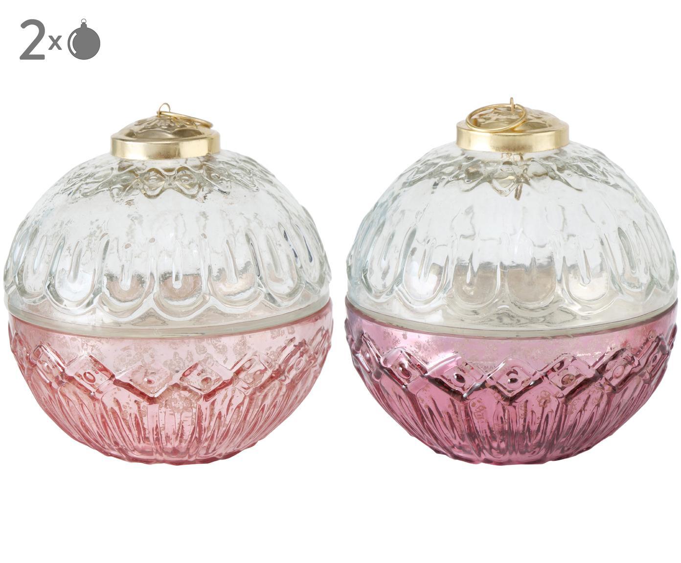 Set candele profumate Camity (Vanilla) 2 pz, Contenitore: vetro verniciato, Trasparente, rosa, dorato, Ø 10 cm