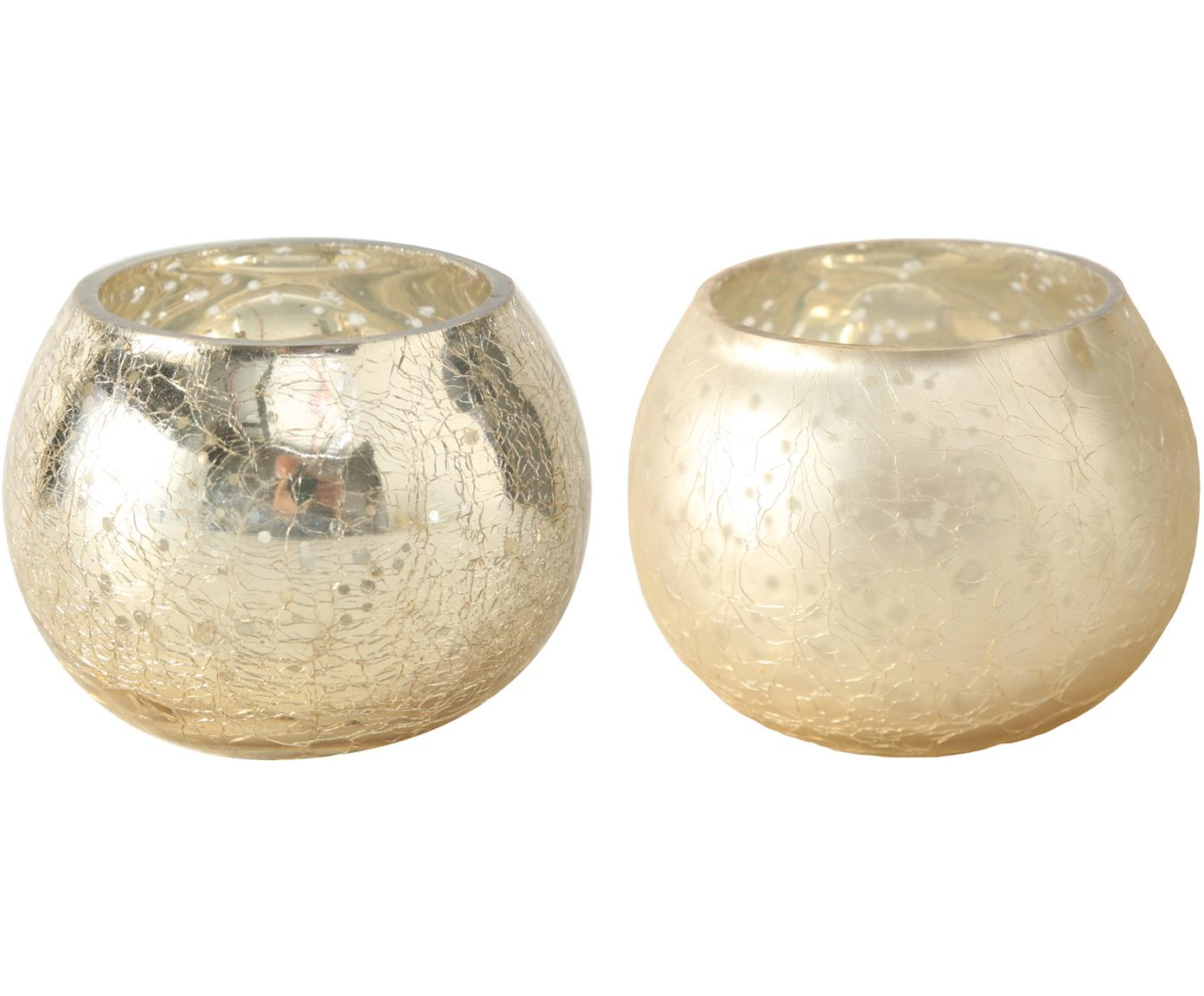 Set 2 portacandele Grusha, Vetro verniciato, Champagne, opaco e lucido, Ø 7 x Alt. 6 cm