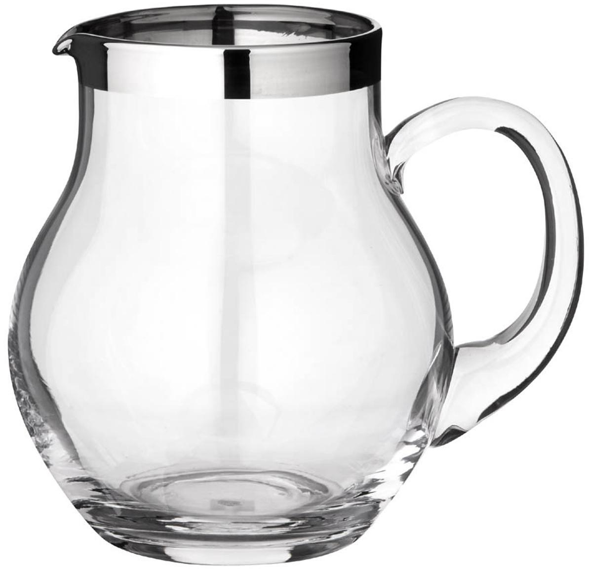 Krug Olivia, Kristallglas , Platinrand, Transparent, 1 L