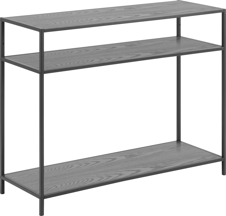 Consola de madera y metal Seaford, Estantes: tablero de fibras de dens, Estructura: metal con pintura en polv, Negro, An 100 x F 35 cm