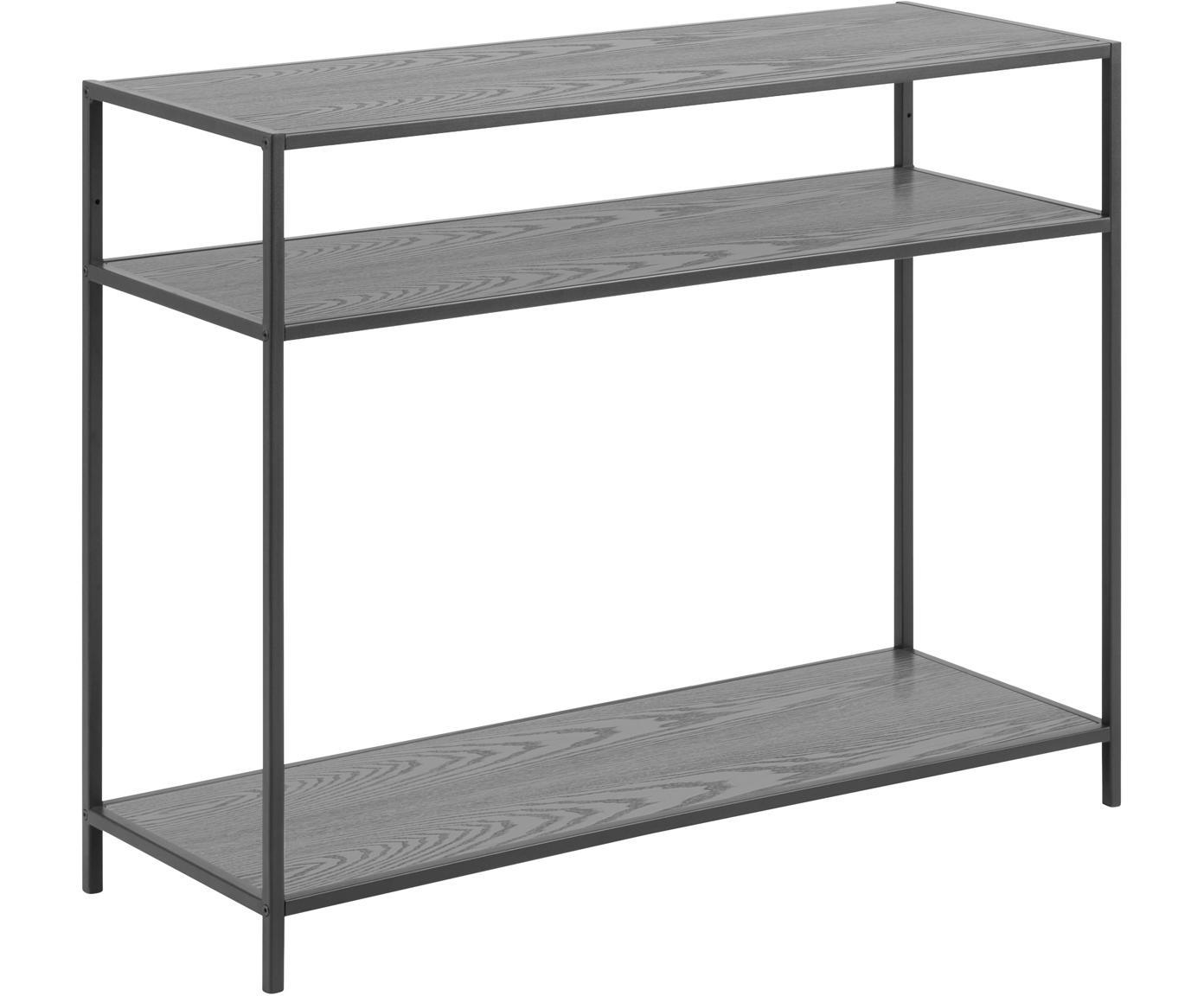 Consola Seaford, Estantes: tablero de fibras de dens, Estructura: metal con pintura en polv, Negro, An 100 x F 35 cm