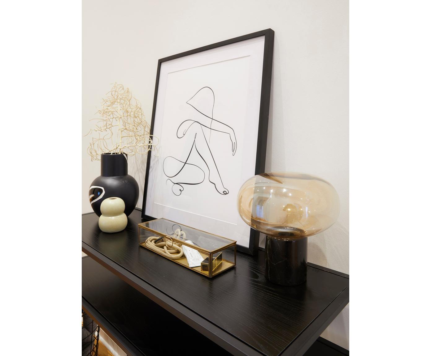 Sidetable Seaford met 3 plateaus, Frame: gepoedercoat metaal, Zwart, 100 x 79 cm