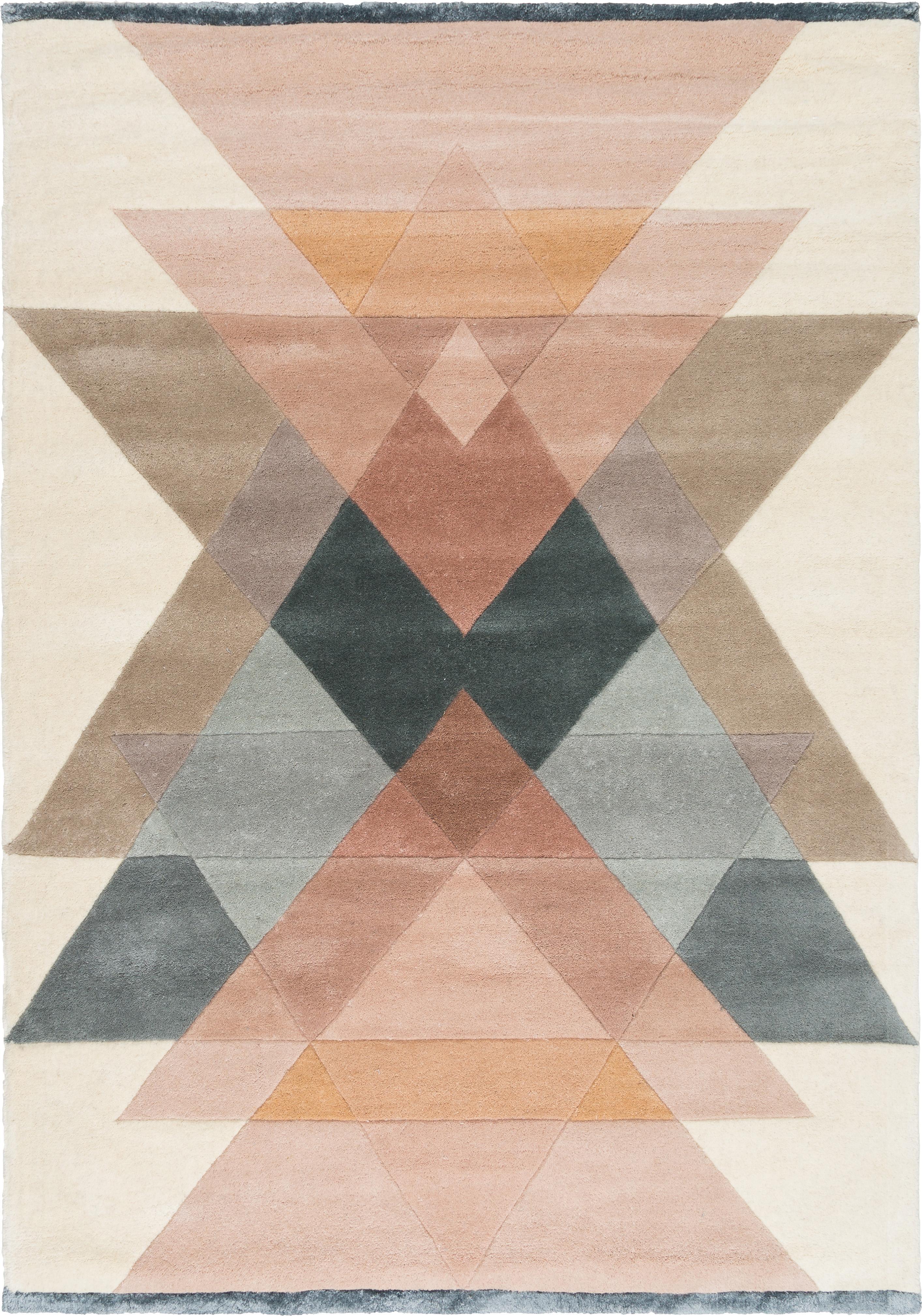 Handgetufteter Designteppich Freya aus Wolle, Flor: 95% Wolle, 5% Viskose, Beigetöne, Rosa, Blaugrau, B 140 x L 200 cm (Grösse S)