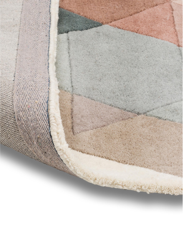 Tappeto in lana taftato a mano Freya, Retro: cotone, Beige, rosa, blu grigio, Larg. 140 x Lung. 200 cm (taglia S)