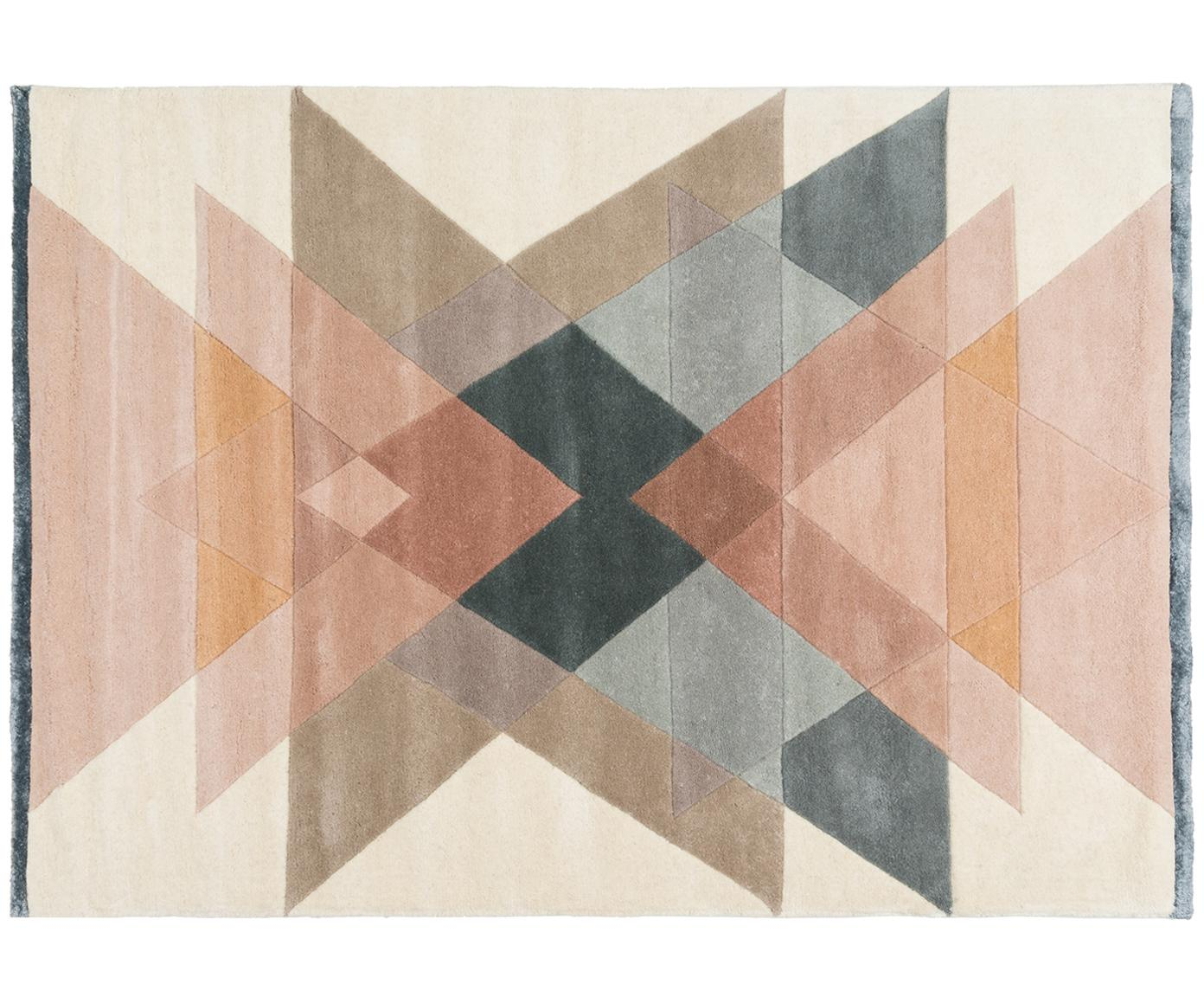 Tappeto in lana taftato a mano Freya, Vello: 95% lana, 5% viscosa Retr, Beige, rosa, blu grigio, Larg. 140 x Lung. 200 cm (taglia S)