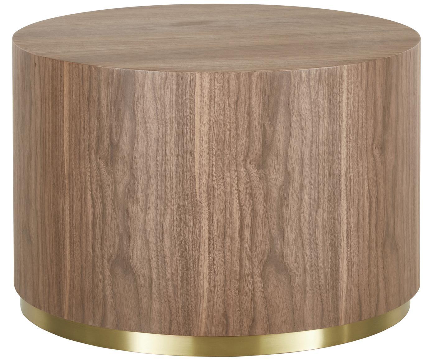 Mesa de centro redonda en nogal Clarice, Estructura: tablero de fibras de dens, Estructura: nogal Base: dorado, brillante cepillado, Ø 60 x Al 40 cm