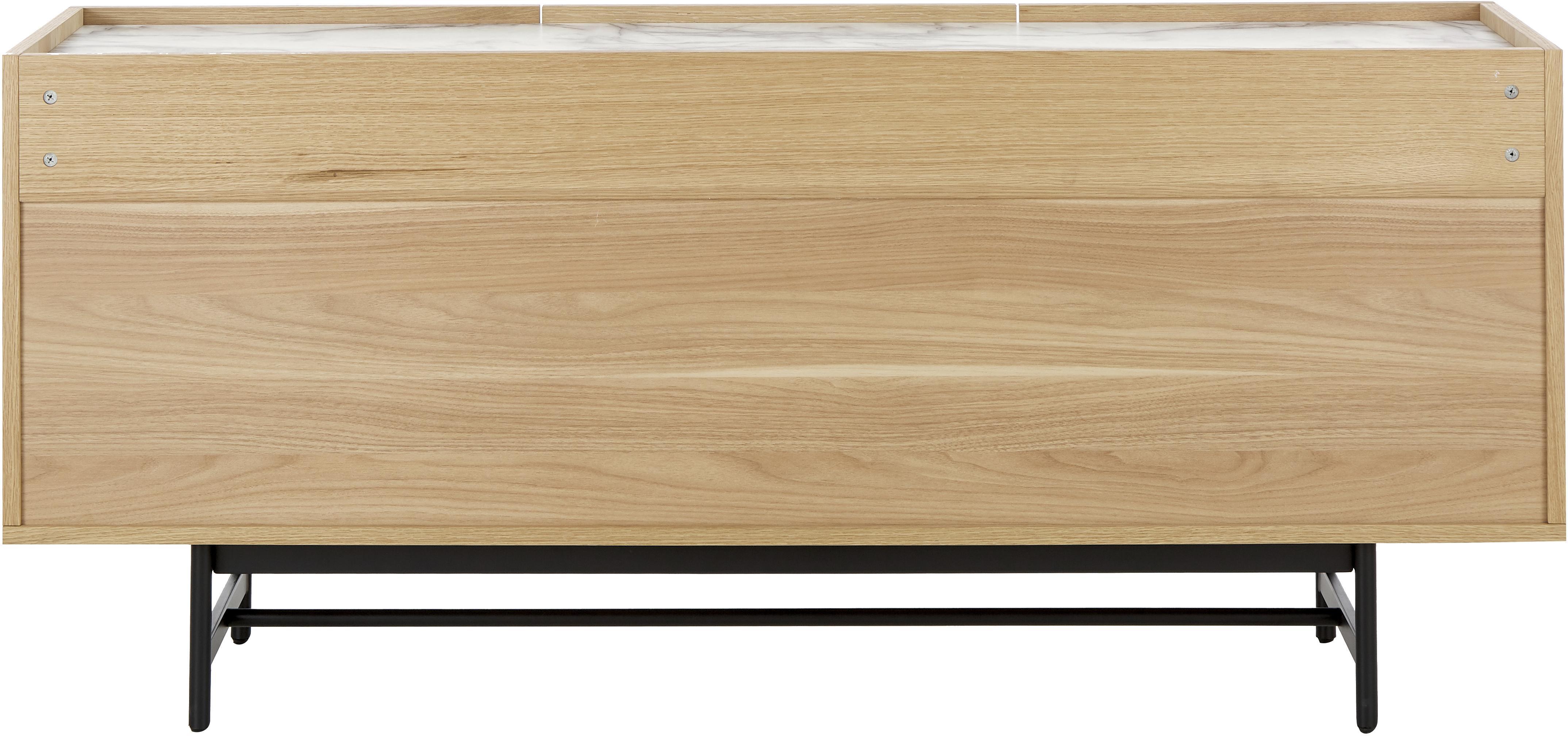 Eichenholz-Sideboard Carare, Korpus: Mitteldichte Holzfaserpla, Füße: Metall, beschichtet, Platte: Mitteldichte Holzfaserpla, Braun, Schwarz, Weiß, marmoriert, 160 x 70 cm