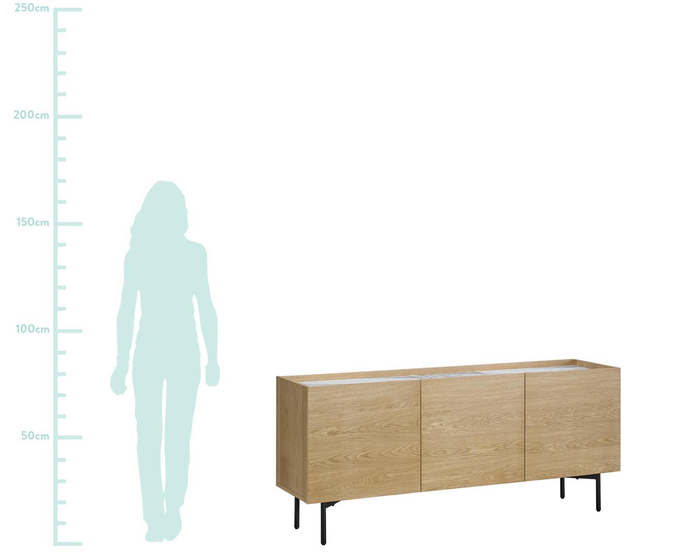 Credenza in legno con piano in marmo Carare, Piedini: metallo rivestito, Marrone, nero, bianco, marmorizzato, Larg. 160 x Alt. 70 cm