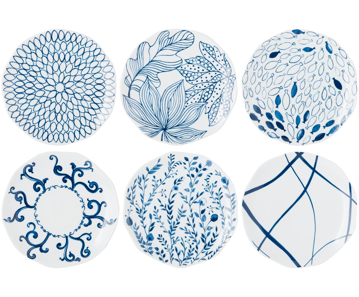 Dessertbordenset Vassoio, 6-delig, Porselein, Blauw, wit, Ø 20 cm