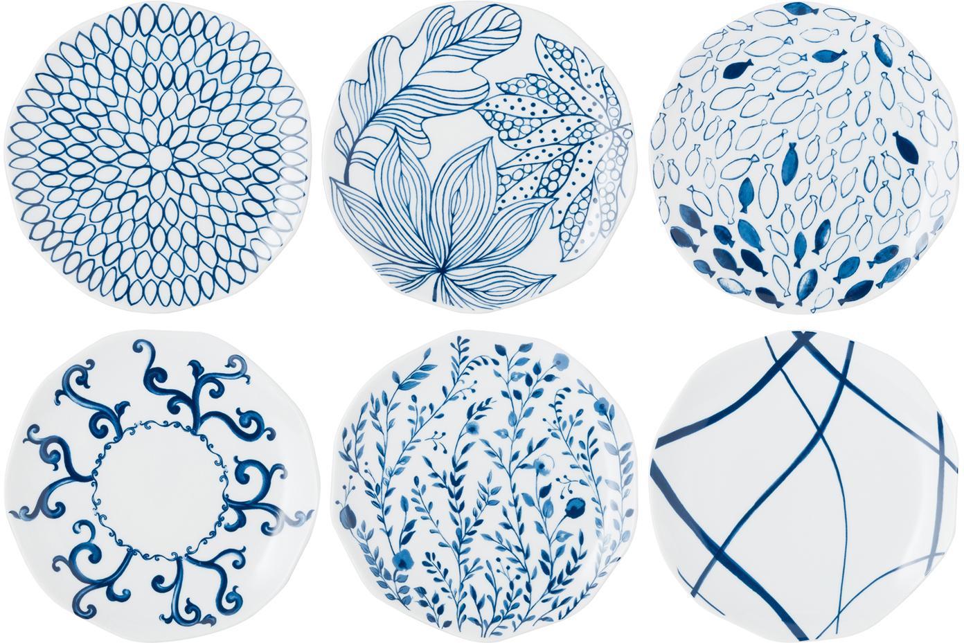 Gemusterte Dessertteller Vassoio in Weiß/Blau, 6er-Set, Porzellan, Blau, Weiß, Ø 20 cm