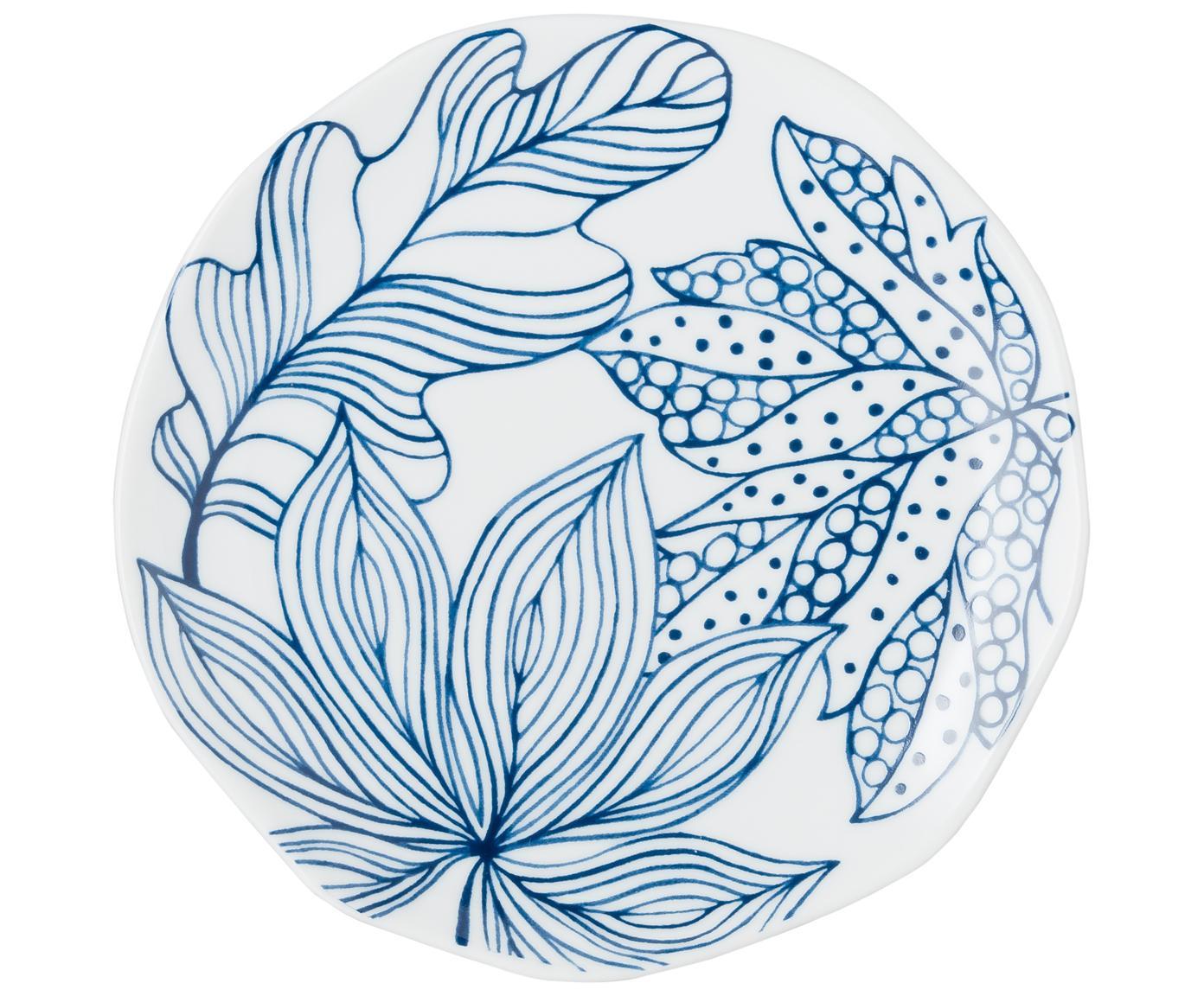 Set 6 piattini da dessert bianco/blu Vassoio, Porcellana, Blu, bianco, Ø 20 cm