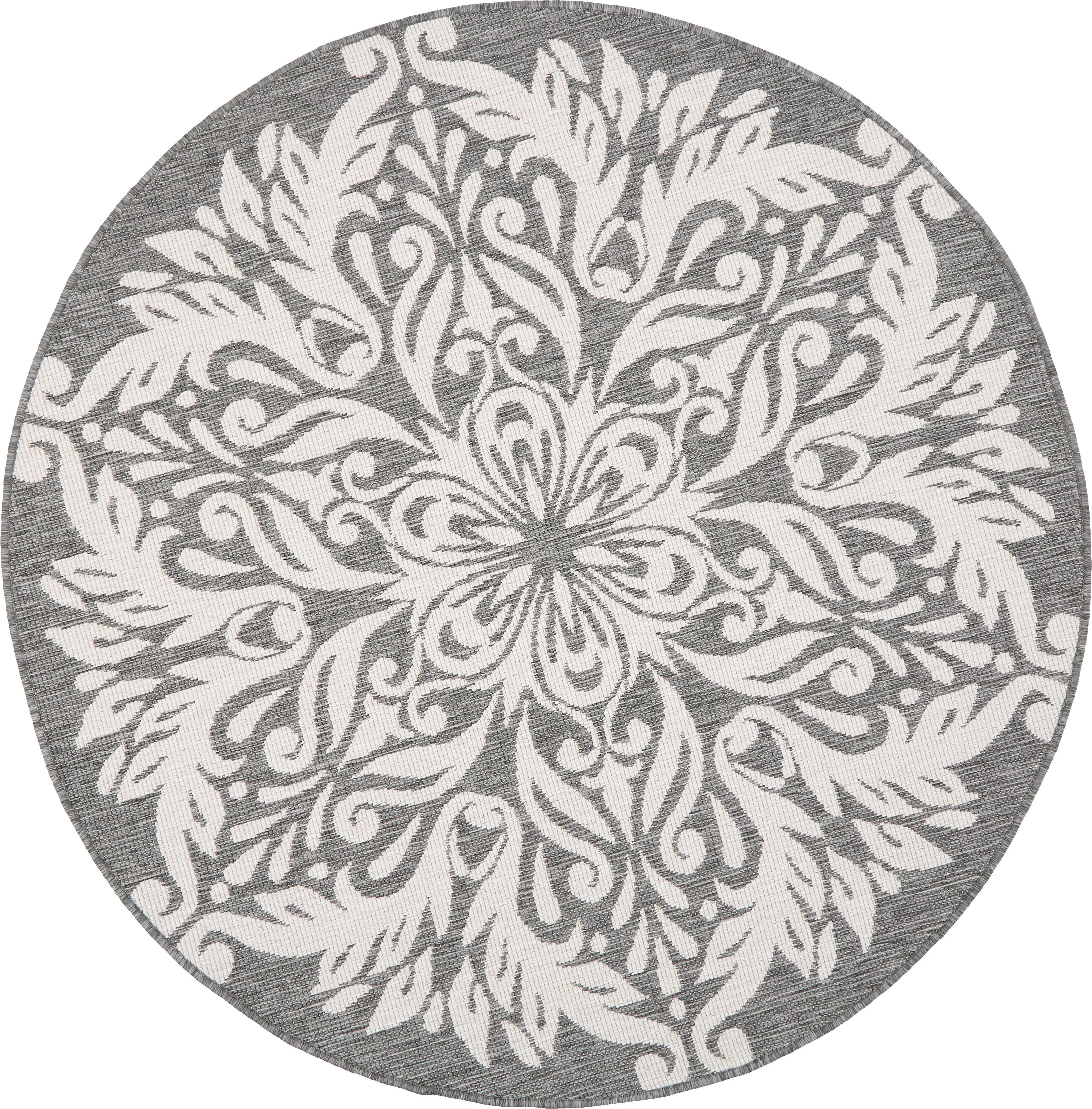 Alfombra redonda reversible de interior/exterior Madrid, Gris, crema, Ø 200 cm (Tamaño L)