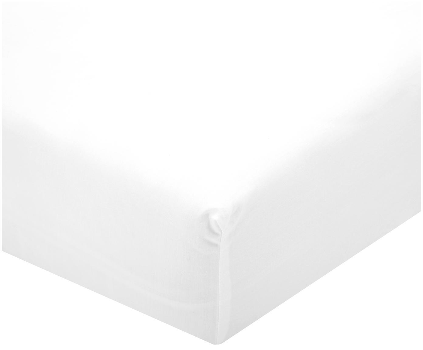 Prześcieradło z gumką z perkalu Elsie, Biały, S 180 x D 200 cm